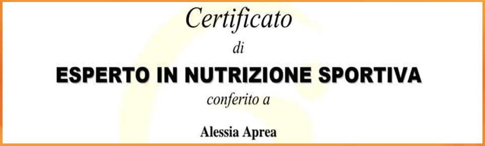 certificato di esperto in nutrizione sportiva della dottoressa Alessia Aprea