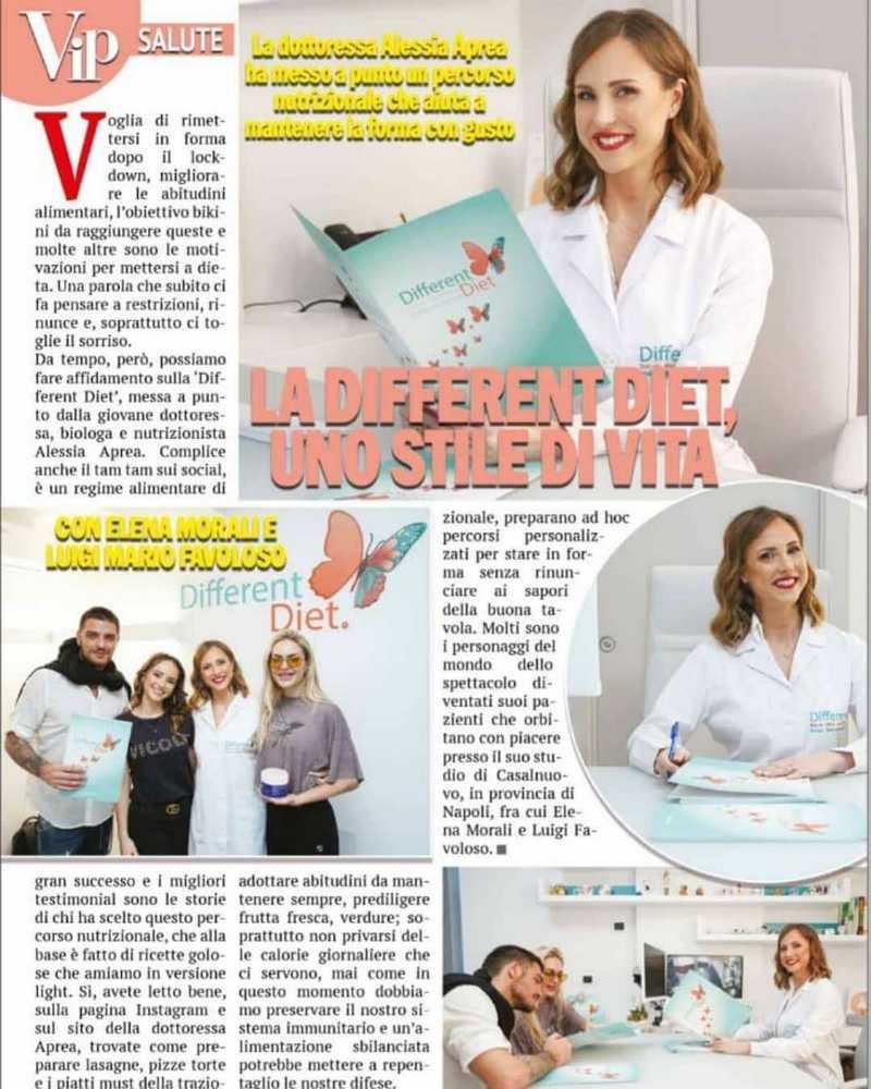 la dottoressa Alessia Aprea sul settimanale nazionale Vip