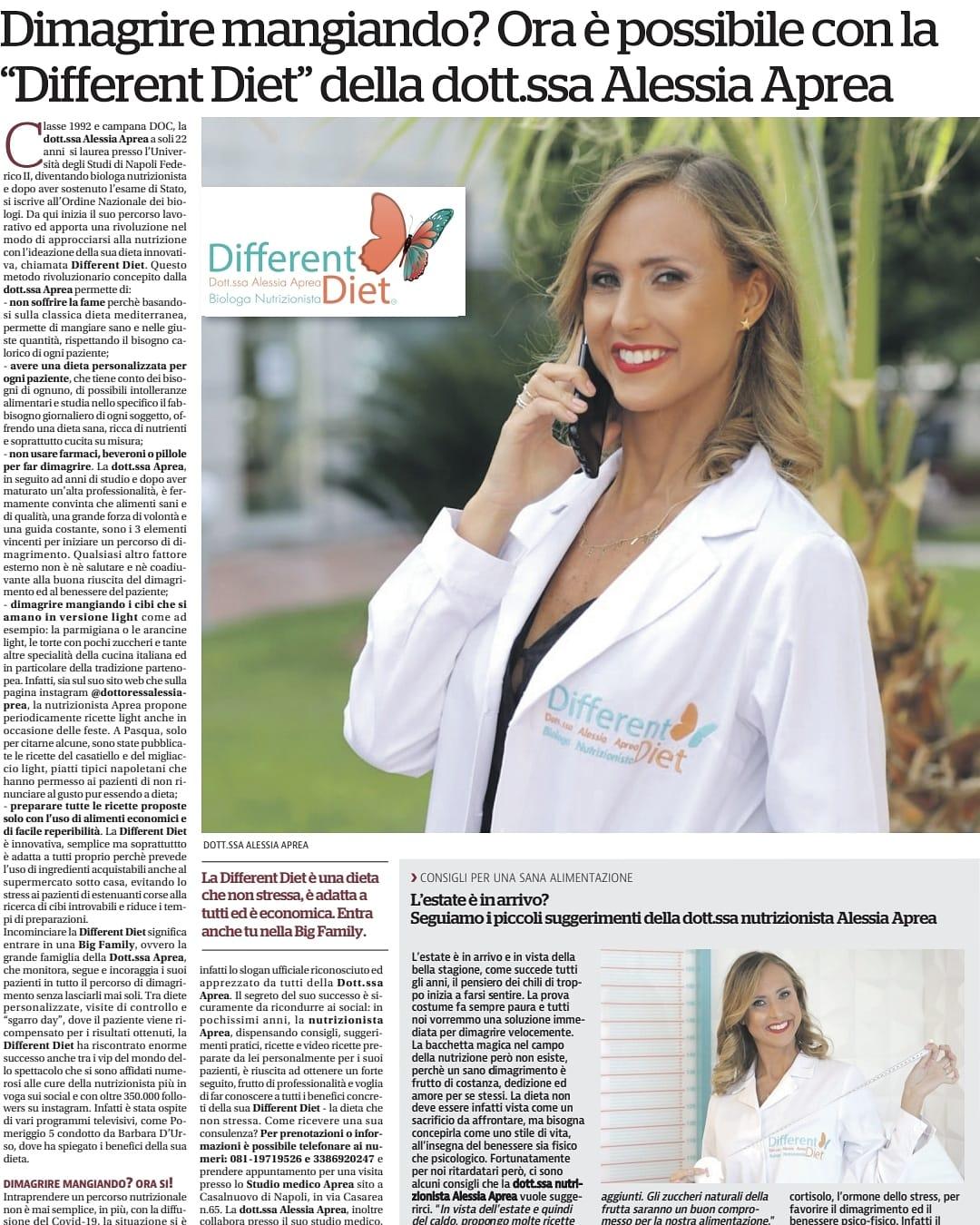 La dottoressa Alessia Aprea con la sua DifferentDiet sul giornale nazionale La Repubblica
